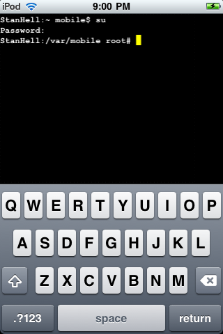 With the above commands enter your mobile terminal screen should look something like the image depicted