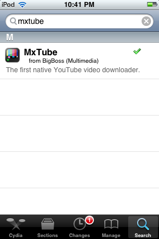 MXTube Cydia Application