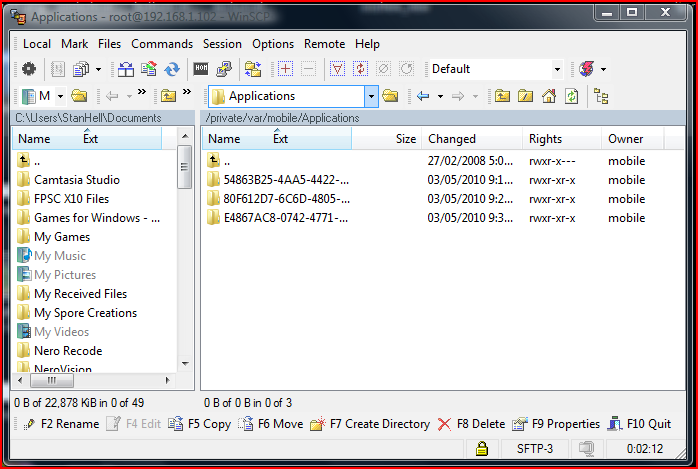 Navigate to the directory mentioned above and click one of the app folders