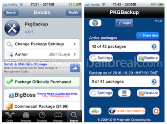 PkgBackup Cydia app how to part 1