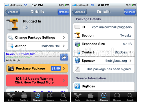 batterydetective_BatteryDetective, Plugged In, AirFlick, Mail Rules Cydia Tweaks