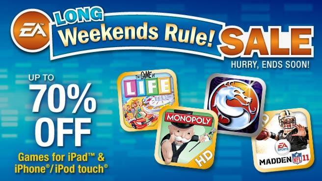 EA's Long Weekends Rule Sale! Save Up To 70% On iOS Games For iPhone, iPod Touch and iPad!