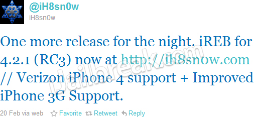 Ireb 4. 2. 1 rc3 available for download: supports verizon iphone 4.