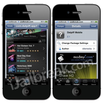 Datpiff Mobile, Spotfb, CydiaBulletin And Checkpwn Cydia Tweaks
