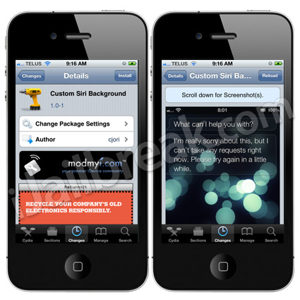 Custom Siri Background Cydia Tweak
