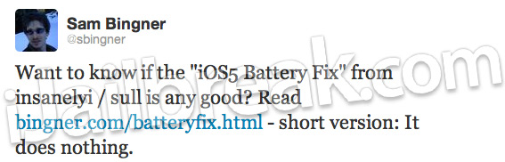 iOS 5 Battery Fix Cydia Tweak Scam