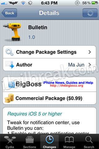Bulletin Cydia Tweak