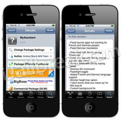 MyAssistant 1.1.1 Cydia Tweak