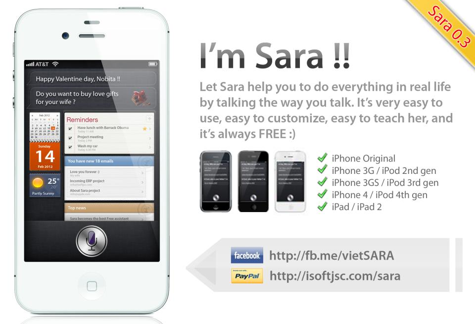 Download SARA Cydia Tweak: Siri Clone On iPhone 4/3GS, iPad 2