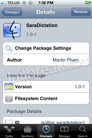 SaraDictation Cydia Tweak