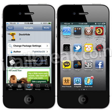 DockHide Cydia Tweak
