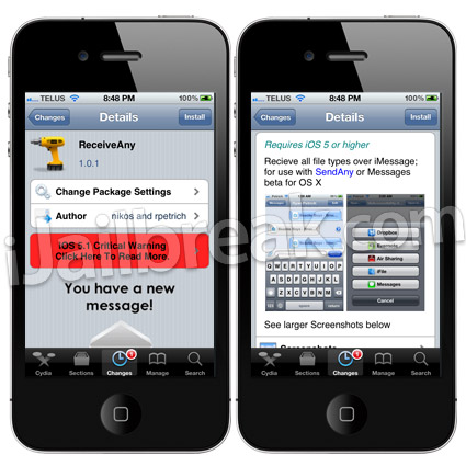 ReceiveAny Cydia Tweak