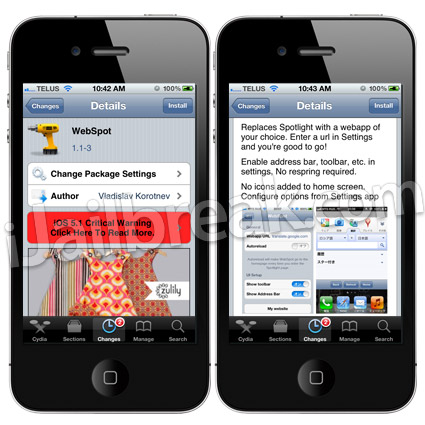 WebSpot Cydia Tweak