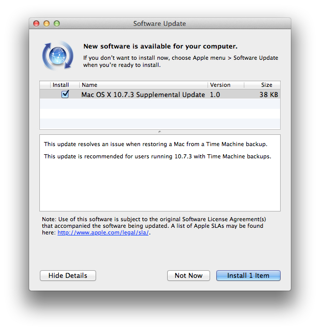 os x lion 10.7.3 supplemental update 1.0