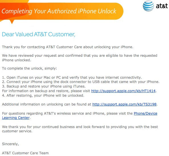 AT&T Unlock Email