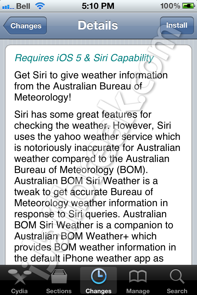 BOM Siri Weather Cydia Tweak