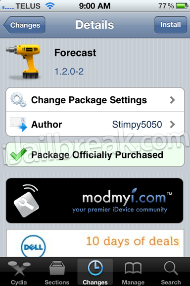 Forecast Cydia Tweak