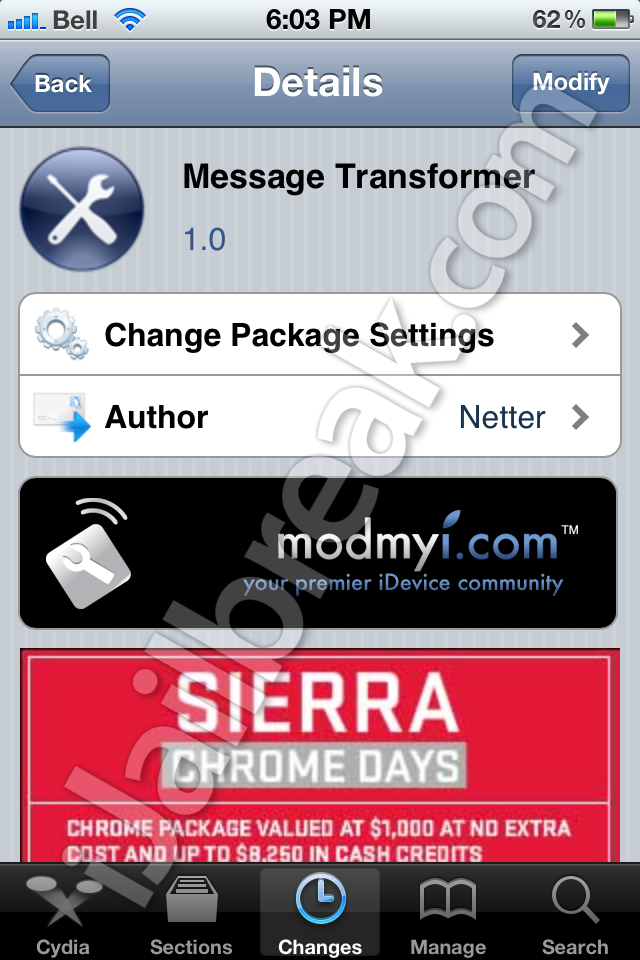 Message Transformer Cydia App