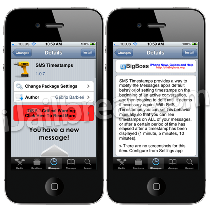 SMS Timestamps Cydia Tweak