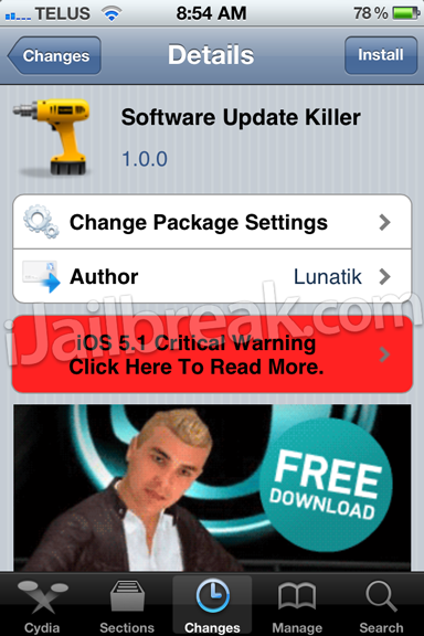 Software Update Killer Cydia Tweak
