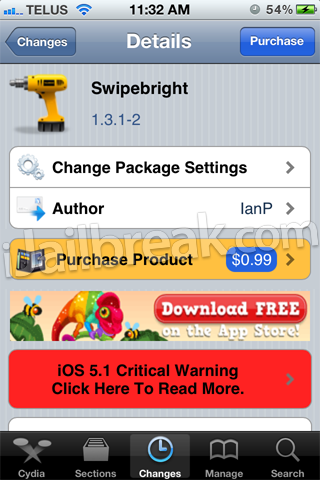 Swipebright Cydia Tweak