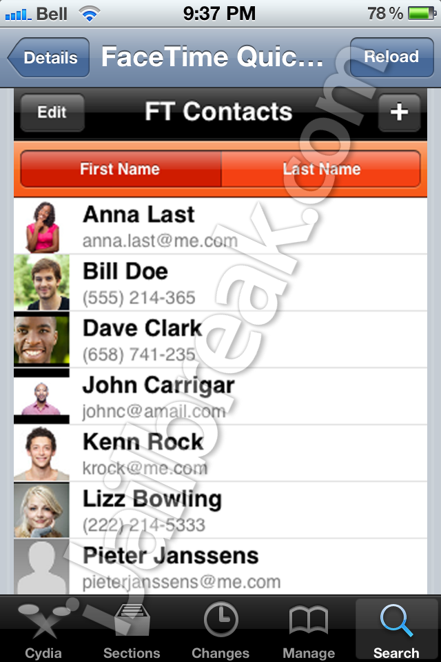 FaceTime QuickPick Cydia Tweak