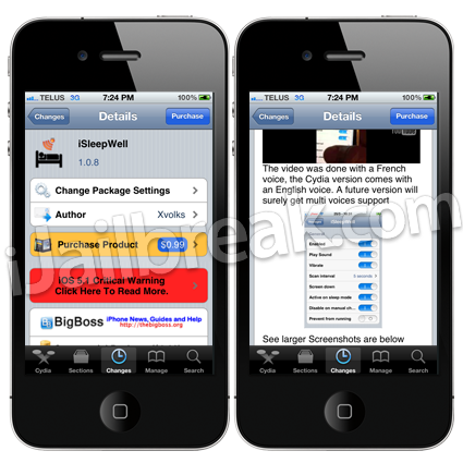 iSleepWell Cydia Tweak