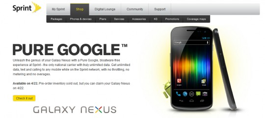Samsung Galaxy Nexus Pre-Orders Sold Out