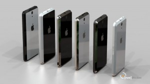 iPhone 5 renders all in a line