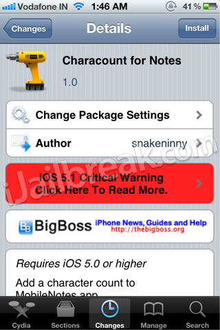 CharaCount for Notes Cydia Tweak