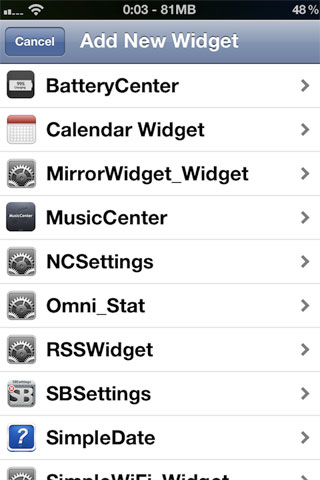 Dashboard X Cydia Tweak Settings