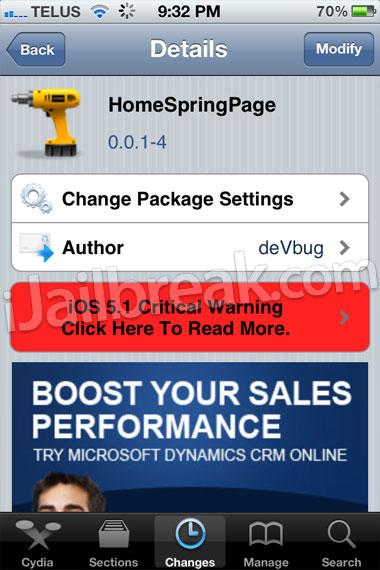 HomeSpringPage Cydia Tweak