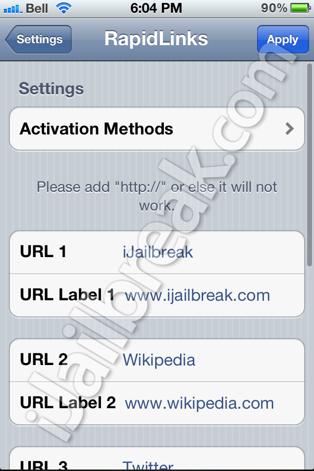 RapidLinks Cydia Tweak