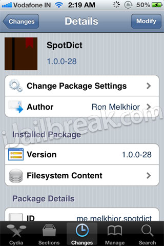 SpotDict Cydia Tweak