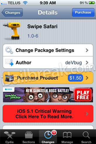 Swipe Safari Cydia Tweak