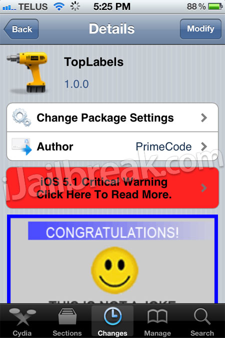 TopLabels Cydia Tweak