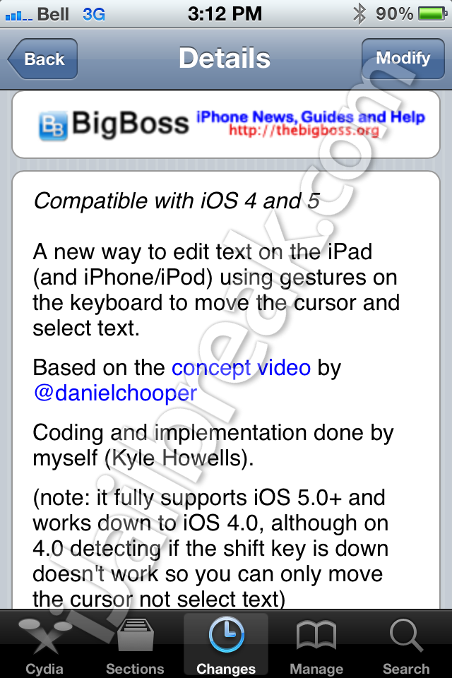 SwipeSelection Cydia Tweak