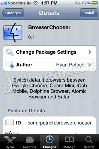 BrowserChooser Cydia Tweak
