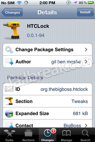 HTCLock Cydia Tweak