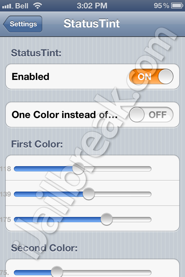 StatusTint Cydia Tweak