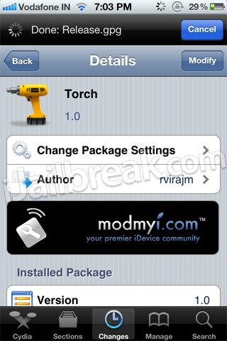Torch Cydia Tweak