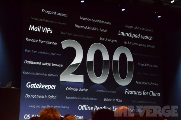 WWDC 2012 Mountain Lion 200 Features