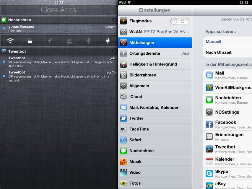 Mountain Lion Notification Center iOS
