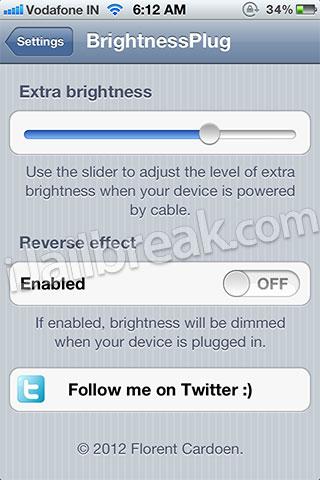 BrightnessPlug Cydia Tweak