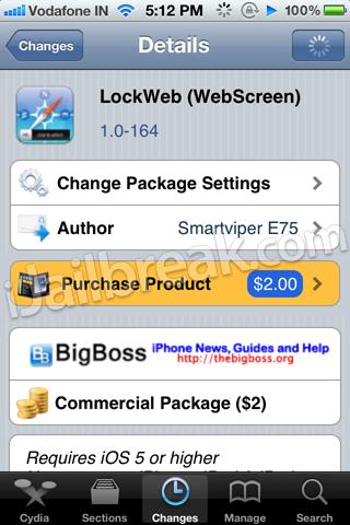 LockWeb (Lockscreen) Cydia Tweak