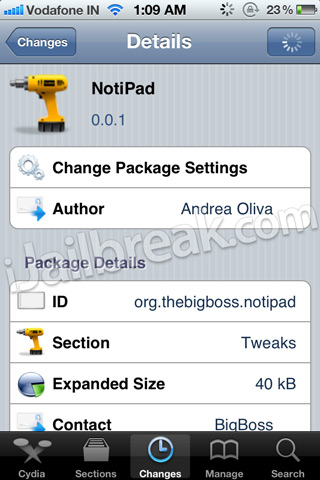 NotiPad Cydia Tweak