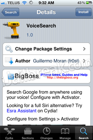VoiceSearch Cydia Tweak