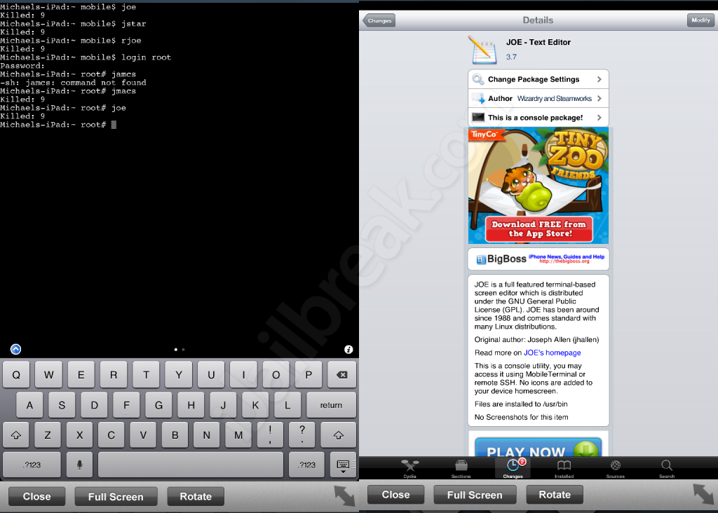 JOE - Text Editor Is Terminal Based Text Editor For iPhone