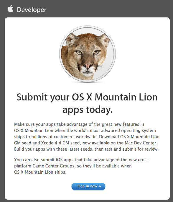 Apple Accepting OS X Mountain Lion Apps For Mac App Store