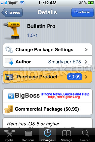 Bulletin Pro Cydia Tweak
